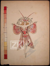 DANSE Cabaret Horloge MONTRE Clock PAPILLON Opérette Costume GOUACHE 20/30s