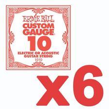 6 Pack Ernie Ball Custom Gauge 10's Guitar Single Strings Electric / Acoustic