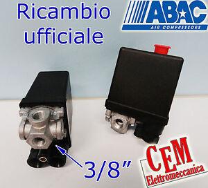 """Pressostato 4 VIE ABAC attacco 3/8"""" per compressore monofase 220 v 12 Bar"""