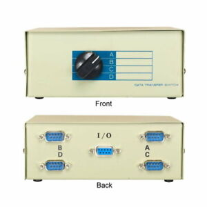 Kentek DB9 Male 4 Way Manual Data Switch Box RS-232 D-Sub 9 Pin I/O ABCD Port PC