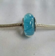 Authentic 925 Sterling Silver Looking Glass Turquoise Bead