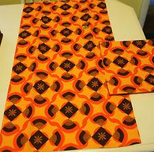 Retro Mod Kitchen Towels Vintage NEW Set Of 2 Orange Brown Gold 100% Cotton