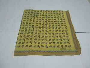 "USED YELLOW PAISLEY PATTERN COTTON 18"" HANDKERCHIEF HANKYPOCKET SQUARE FOR MEN"