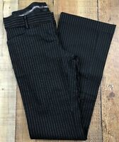 Express Stylist Flat Front Flare Leg Black/White Stripe Pants Sz 0  27x31