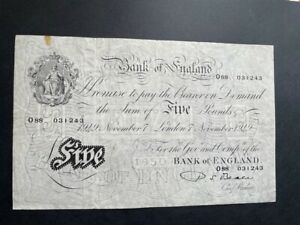 White Fiver - Five Pounds Note. 7th November 1949 - Beale - Very nice Condition