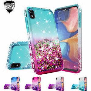 Samsung Galaxy A10E Case Glitter Crystal Rhinestone Liquid Bling +T. Glass Cover