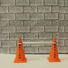 Two Stackable Pack of  Orange Cones 'CAUTIONS' one Silver Cone Bar1:24 scale
