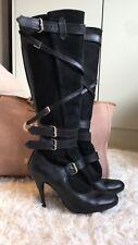 vivienne westwood suede buckle black boots size 5