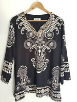 Hourglass Womans Black & White Floral Paisley Blouse Size 16 Tunic Top Flowy
