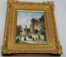 Oil painting on board by J Martins of old Dutch town, fine framing very detailed
