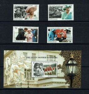 Bahamas: 1999  The Queen Mother's Century, MNH set + M/Sheet