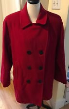 MDP Mario De Pinto Womens Red Wool Blend Coat Size XL