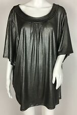 Maggie Barnes Metallic Gunmetal Grey Short Sleeve Scoop Neck Top Blouse Size 4X