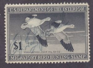 US RW14 Used 1947 $1 Snow Geese Duck Hunting Stamp
