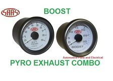 PYRO EXHAUST TEMP GAUGE  + TURBO DEISEL BOOST GAUGE COMBO SAAS WHITE FACE