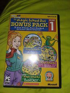 Microsoft Pc Cd Rom The Magic School Bus 3 Pack Animals Bugs Rainforest