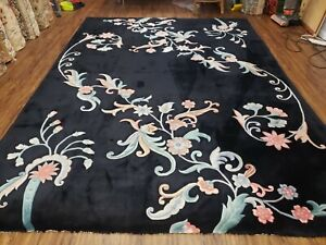 9' X 12' Vintage Hand Made CHINESE Art Deco 120 LINES Wool Rug Flowers Black Wow