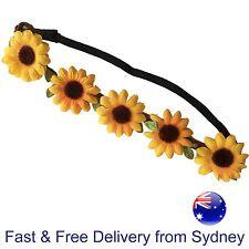 Sunflower headband - 5 decorative yellow flowers on elastic - Flower power sun