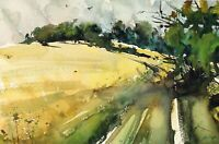 Landscape Painting Watercolor Original Impressionism Country House Nature 11x8in