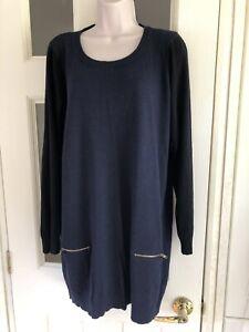 Ladies Navy Tunic Jumper Size 20 Bnwot - Wool Mix