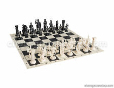 "Roman Chess Set - Chess Board B/W- Size 17,3"" + Roman Chess Pieces 3,75"" B/W"