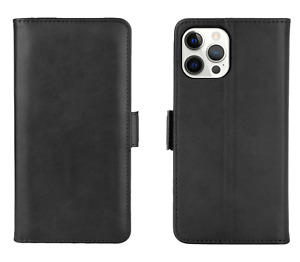 Case for iPhone 13, 12 , PRO MAX 11 PU LEATHER FLIP WALLET TEMPERED GLASS Cover