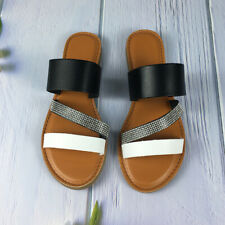 Women Summer Out Wear Slipper Sandals Buckle Flats Rhinestone Casual Slides Shoe