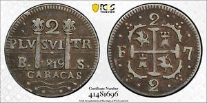 1819-BS  2 REALES CARACAS VENEZUELA PCGS VF30  #41481696 FERNANDO VII  C#6.1