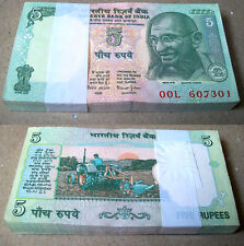 1997-03 Bimal Jalan (C-36) 5 Rupees (Tractor){FULL BUNDLE} Serially 100 UNC Note
