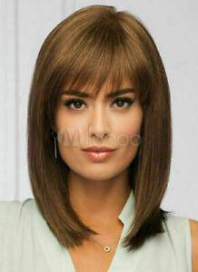 100% Human Hair New Elegant Medium Light Brown Smooth Straight Women's Full Wigs