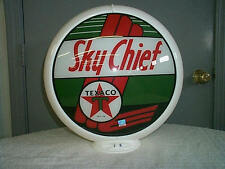 gas pump globe TEXACO SKY CHIEF repro. 2 GLASS LENSES NEW