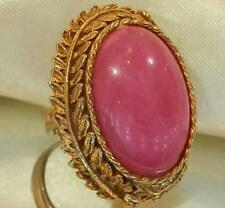 Pretty Pink Swirl Lucite Vintage 50's Adj. Size Ring -Large Cab 287S6