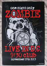 ROB ZOMBIE 2013 FULLY AUTOGRAPHED MEGA RARE LIVE IN WASH DC CONCERT POSTER S/N