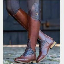 Ladies Low Heels Riding Knee High Boots Buckle Pointy Toe Motorcycle Flats Shoes