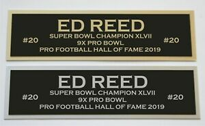 Ed Reed nameplate for signed jersey football helmet or photo