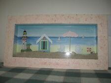 "Framed Shadow Box w Lighthouse Beach Chairs Shifting Sand & Sea Shells 21""x11"""