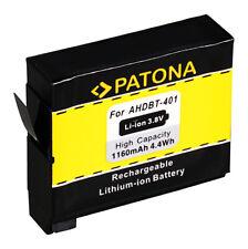 4x Batteria Patona 3,8V 1160mAh per GoPro AHDBT-401 Hero 4,4 Black,4 Silver,4+