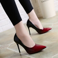 Women's Pumps Gradient Color Stiletto High Heels Pointed Toe Faux Leather Shoes