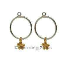 NEW Pandora Genuine Gold Silver Diamond Flower Compose Earring Pendants 290632D