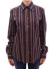 NWT $600 DOLCE & GABBANA Multicolor Striped Floral Cotton Shirt s. IT46 / US12
