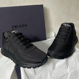 Prada Milano Nylon Trainers, Black, Size UK 7.5 EU 41.5, Brand New With Box