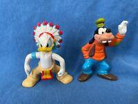 Vintage DONALD DUCK Native American and GOOFY PVC Toy Figurines Walt Disney WDW