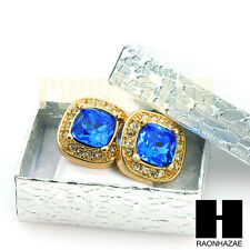 HipHop IcedOut RICK ROSS Gold Tone Micro pave Sapphire Stone Bling Earrings G132