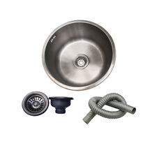 Undermount Top Mount Stainless Steel Kitchen Sink Round Bar Bowl With Strainer