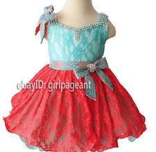 Infant/toddler/baby Mint/Coral Lace Rhinestones Pageant Dress 3T G213-2