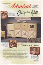 ADMIRAL FM-AM Automatic Radio-Phonograph Television TV PRINT AD 1948
