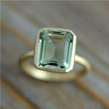 Green Amethyst Ring 925 Sterling Silver Ring 14KGold Plated Ring All Size MM-943