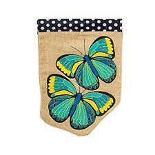 """BLUE BUTTERFLIES BURLAP SPRING SUMMER YARD GARDEN FLAG 13"""" X 18"""""""