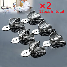 2Kits /12Pc Dental Metal Stainless Steel Impression Trays Autoclavable