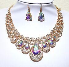 AB Aurora Borealis Crystal Clear Rhinestone Bridal Evening Gold Necklace Earring